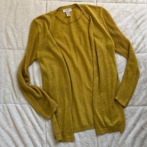LOFT Gold Yellow Lightweight Open Cardigan